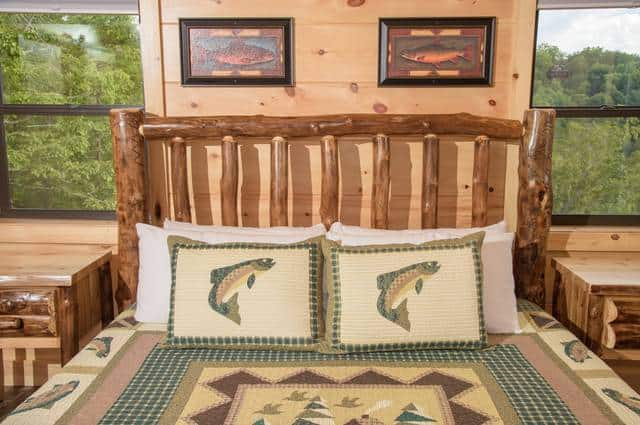 bed with fish themed comforter
